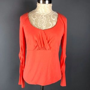 Etcetera Orange Ruched Sleeve Top Blouse Stretchy
